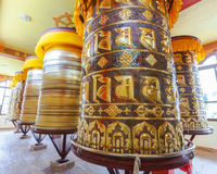 Buddyjscy modlitewni koła Zdjęcia Royalty Free