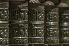 Buddyjscy modlitwa młyny abstrakcyjny tło obrazy stock
