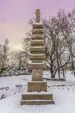 Buddyjska stupa w stylizowanym japończyka parku w Kijów w zimie Zdjęcie Royalty Free