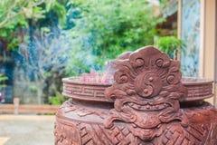 Buddyjskich modlitwa kijów inside świątynia fotografia royalty free