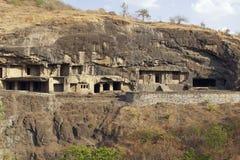 buddyjskie jaskiniowe skały ellora świątynie Obrazy Royalty Free