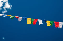 Buddyjskie modlitewne flaga Zdjęcia Royalty Free