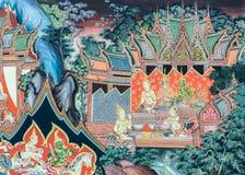 Buddyjskiej świątyni malowidła ściennego obrazu sztuka w Tajlandia obrazy royalty free