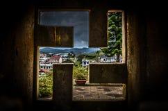 Buddyjskiej świątyni swastyki okno Zdjęcia Royalty Free