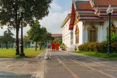 Buddystów michaelita chodzi w dół drogę przy Wata Benchamabophit świątynią Obrazy Royalty Free