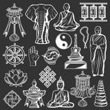 Buddyzm kultury i religii ikony, duchowość ilustracja wektor