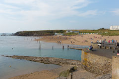 Bude beach Cornwall during July heatwave Royalty Free Stock Photos
