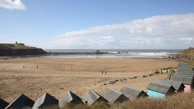 Bude beach North Cornwall England UK north of Boscastle popular tourist destination pan stock footage