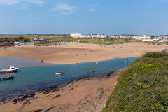 Bude beach North Cornwall during July heatwave. BUDE, CORNWALL-JULY 8TH 2013:  The July heatwave in England continues and holidaymakers flock to Bude beach Royalty Free Stock Image