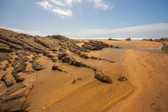 Bude beach scene. Fabulous sandy Crooklet`s beach in Bude , Cornwall , England Stock Photography