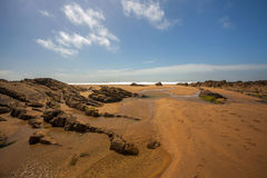 Bude beach scene. Gloriously Rugged and Sandy Crooklet`s Beach in Bude , Cornwall Stock Photo