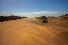 Bude beach scene. Very beautiful and Sandy Crooklet`s beach in Bude , Cornwall Stock Photography