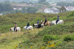 BUDE, CORNWALL/UK - AUGUST 15 : Horse riding in Bude in Cornwall Royalty Free Stock Images