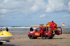 BUDE, CORNWALL, UK - AUGUST 12 : RNLI Lifeguards on duty at Bude Stock Photo
