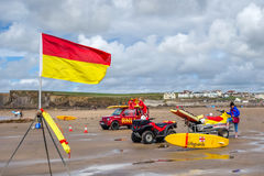 BUDE, CORNWALL, UK - AUGUST 12 : RNLI Lifeguards on duty at Bude Stock Images