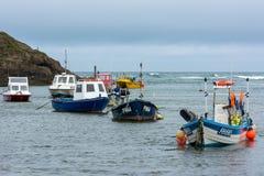 BUDE, CORNWALL/UK - 15 DE AGOSTO: Barcos no porto em Bude sobre Imagem de Stock Royalty Free