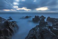Bude, Cornwall, Zjednoczone Królestwo przy zmierzchem, piękny seascape fotografia royalty free