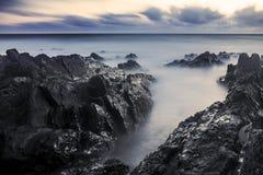 Bude, Cornwall, Zjednoczone Królestwo przy zmierzchem, piękny seascape zdjęcia royalty free