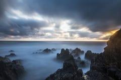 Bude, Cornwall, Zjednoczone Królestwo przy zmierzchem, piękny seascape Obrazy Stock
