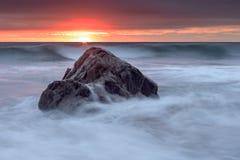 Bude, Cornwall, Zjednoczone Królestwo przy zmierzchem, piękny seascape, se Obraz Stock