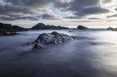 Bude, Cornwall, Zjednoczone Królestwo przy zmierzchem, piękny seascape, se obrazy stock