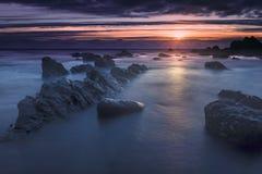 Bude, Cornwall, Zjednoczone Królestwo przy zmierzchem, piękny seascape, se zdjęcie royalty free