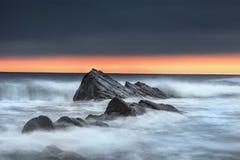 Bude, Cornwall, Zjednoczone Królestwo przy zmierzchem, piękny seascape, se Fotografia Stock
