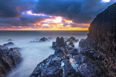 Bude, Cornwall, Zjednoczone Królestwo przy zmierzchem, piękny seascape, se zdjęcia stock