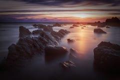 Bude, Cornwall, Zjednoczone Królestwo przy zmierzchem, piękny seascape, se Fotografia Royalty Free