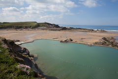 Bude Lido , Bude North Cornwall , uk. Bude Sea Pool, Cornwall Royalty Free Stock Photo