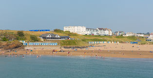 Bude swimmers and surfers North Cornwall during July heatwave Royalty Free Stock Photo