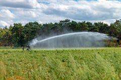 BUDEL, NEDERLAND - JULI 31 2018: De landbouwers vechten met waterspri stock foto's