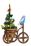Budgerigar Carrying New Year Tree On The Tricycle Royalty Free Stock Images