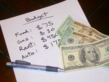 Budget. A well-planned out budget for the month Royalty Free Stock Image