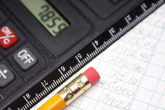 Budget. Calculator pencil and account book royalty free stock photos