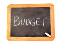 Budget. Chalkboard with 'Budget' written on it royalty free stock photos