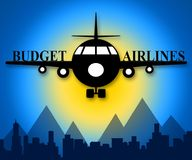 Budget Airlines Showing Special Offer Flights 3d Illustration. Budget Airlines Plane Showing Special Offer Flights 3d Illustration Royalty Free Stock Image