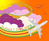 Budget Airlines Shows Special Offer Flights 3d Illustration. Budget Airlines Plane Shows Special Offer Flights 3d Illustration Royalty Free Stock Photo