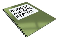 Budget Annual Report concept. 3D illustration of BUDGET ANNUAL REPORT script on a booklet, isolated on white Stock Images