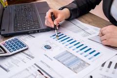 Budget annuel de compte de femme d'affaires avec l'ordinateur portable, le stylo et le graphique photo stock