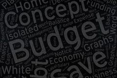 Budget, art de nuage de Word sur le tableau noir Image stock