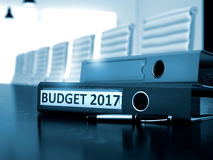 Budget 2017 auf Büro-Mappe Unscharfes Bild 3d Stockfoto
