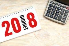 Budget 2018, begrepp för affärsplanläggning Arkivfoto