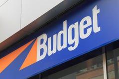 Budget- bilhyra Arkivfoto