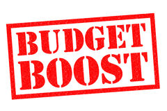 BUDGET BOOST. Red Rubber Stamp over a white background Royalty Free Stock Images
