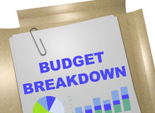 Budget Breakdown - business concept. 3D illustration of BUDGET BREAKDOWN title on business document Royalty Free Stock Image