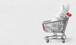 Budget. Market proof of purchase pay sell completion expenditures shopping cart Stock Photos