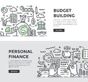 Budget Building & Personal Finance Doodle Banners. Doodle  illustrations of building, planning and managing personal & corporate finances. Abstract concepts for Royalty Free Stock Photos