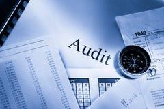 Budget, calendar, compass and audit Stock Photo