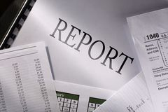 Budget, calendar and report Stock Photography